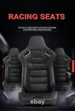 Universal Set of 2 Racing Seats Pair Black Leather Reclinable Bucket Sport Seats