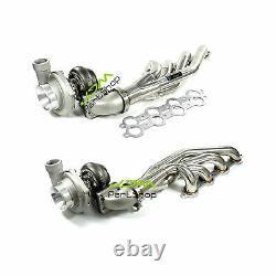 Up&Forward Exhaust Headers+T66 Oil Cold Turbo For LS1 LS2 LS3 LS6 4.8L 5.3L 5.7L